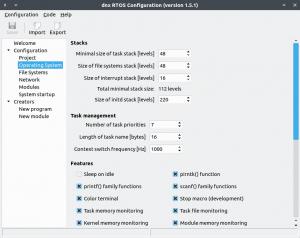dnx RTOS Configuration tool
